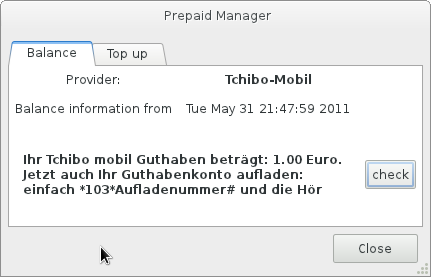 GNOME Prepaid Manager screenshot